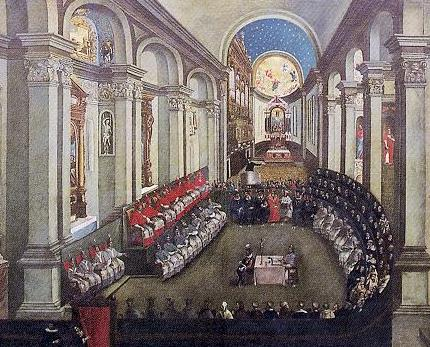 An image of the Council of Trent meeting in assembly. The presiders of the council are set to the left with the bishops and theologians to the right.