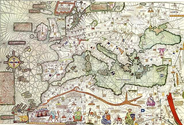 An image of the Catalan atlas; shows various monarchs and regions of North Africa, Europe and the Near East